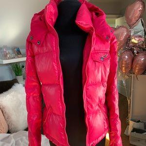 Hollister pink puffer jacket